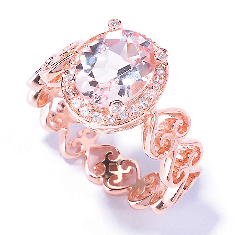 129-384 - NYC II 9 x 7mm Morganite & White Zircon Filigreed Heart Band Ring