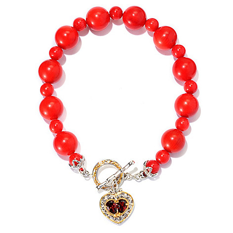 129-386 - Gems en Vogue II 8'' Multi Gemstone & Heart Charm Toggle Bracelet