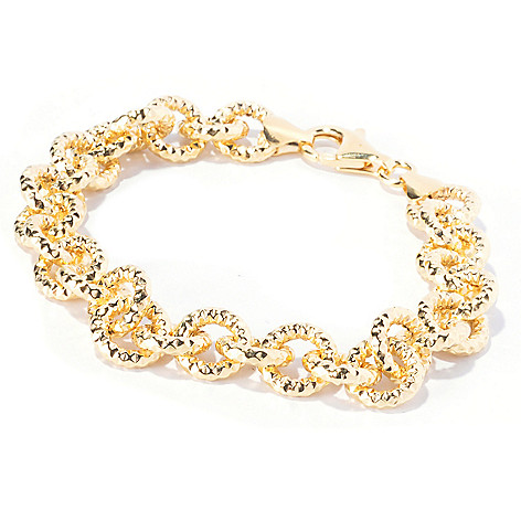 129-390 - Scintilloro™ Gold Embraced™ 8'' Diamond Cut Rolo Link Bracelet