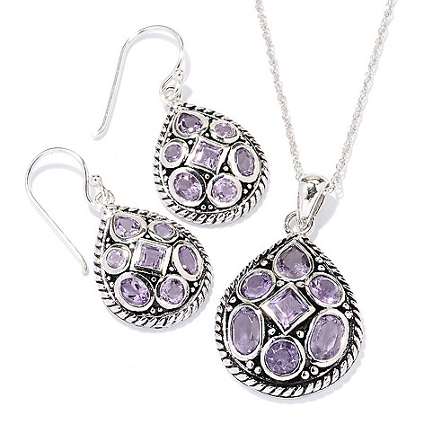 129-394 - Gem Insider Sterling Silver Multi Shaped Gemstone Earrings & Pendant Set