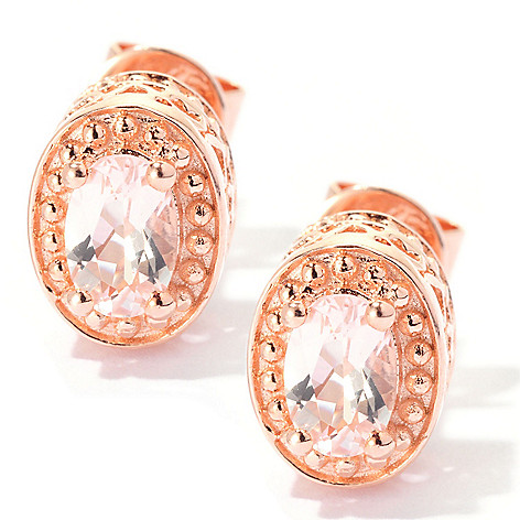 129-398 - NYC II Morganite Heart Detailed Stud Earrings