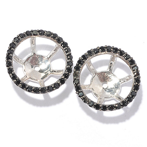 129-399 - Gem Treasures® Sterling Silver Round Gemstone Earring Jackets