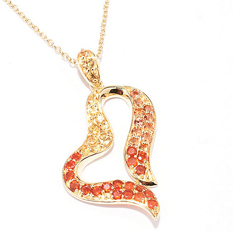 129-404 - NYC II 1.36ctw Fire Opal & Multi Color Sapphire Heart Pendant w/ 18'' Chain