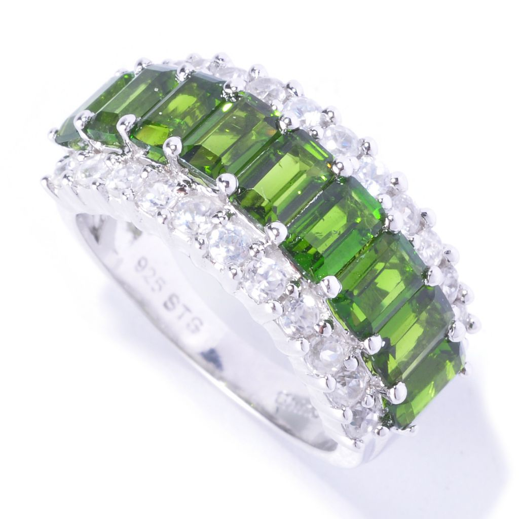 129-414 - NYC II 2.68ctw Emerald Cut Chrome Diopside & White Zircon Ring