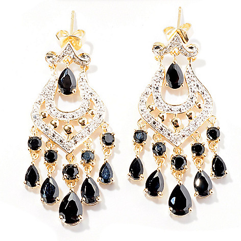 129-415 - NYC II 1.5'' 7.02ctw Black Spinel & White Zircon Chandelier Earrings