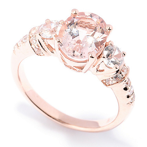 129-417 - NYC II 9 x 7mm Pink Morganite & White Zircon Ring