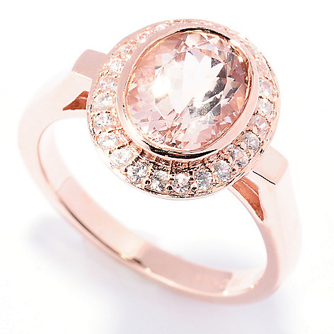 129-418 - NYC II 9 x 7mm Morganite & White Zircon Halo Ring
