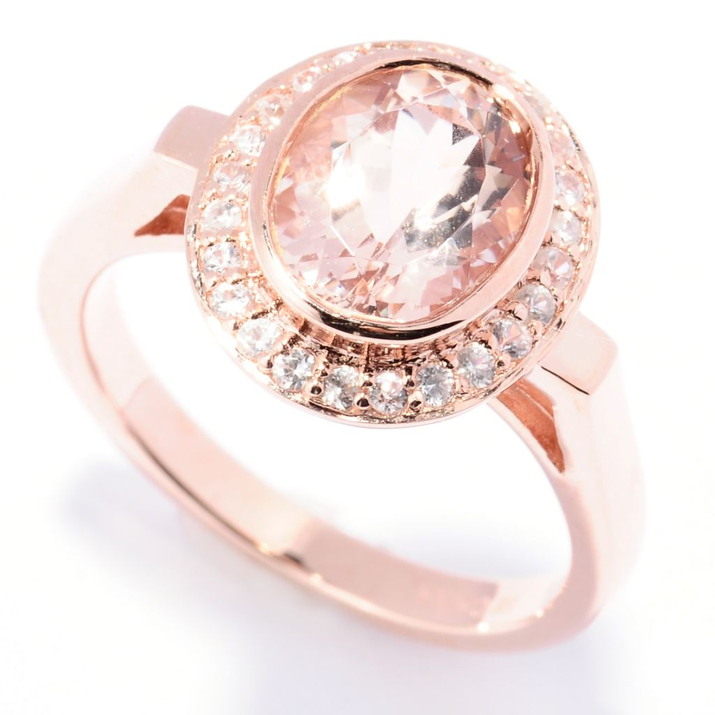 129-418 - NYC II 2.08ctw Morganite & White Zircon Halo Ring