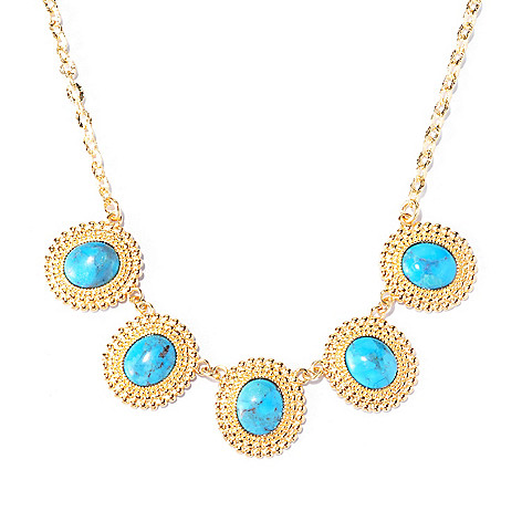 129-419 - Toscana Italiana 18K Gold Embraced™ 19'' Turquoise Beaded Disk Necklace