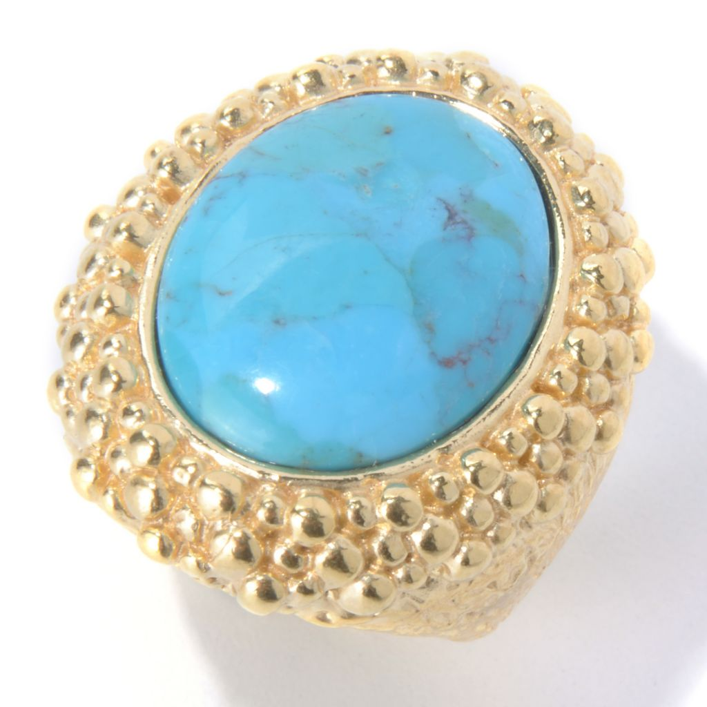 129-421 - Toscana Italiana Gold Embraced™ 20 x 15mm Turquoise Textured Ring