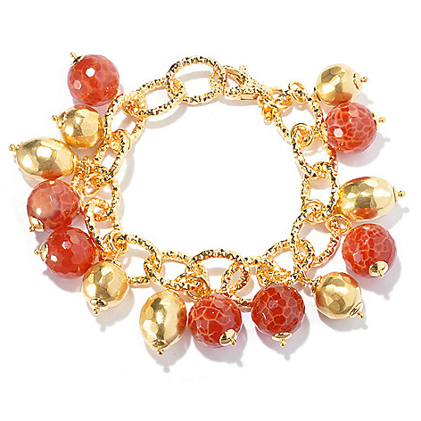129-424 - Toscana Italiana Gold Embraced™ 8'' Orange Quartz & Hammered Bead Charm Bracelet