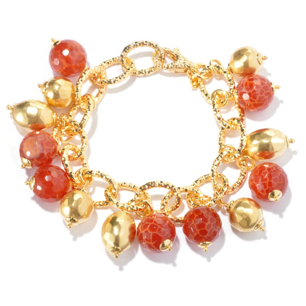 "129-424 - Toscana Italiana 18K Gold Embraced™ 8"" Orange Quartz & Hammered Bead Charm Bracelet"