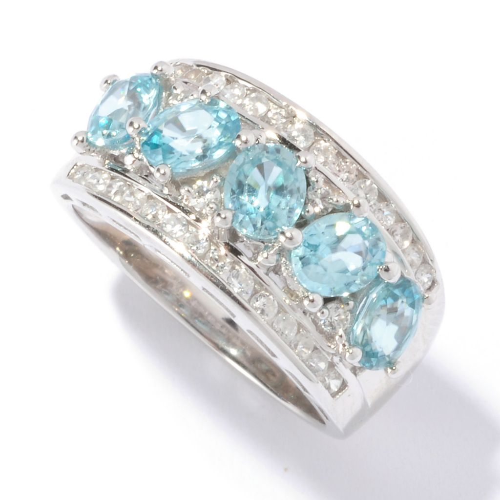 129-427 - NYC II 2.85ctw Blue Zircon & White Zircon Five-Stone Band Ring