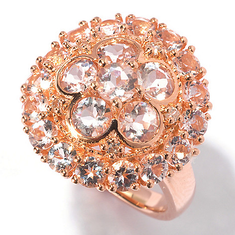 129-432 - NYC II 3.10ctw Morganite & White Zircon Flower Ring