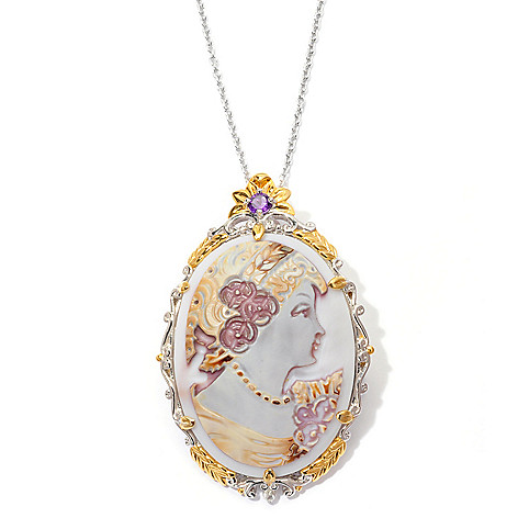 129-450 - Gems en Vogue II 40mm Hand-Carved Tiger Shell Cameo Enhancer/Pin w/ 18'' Chain