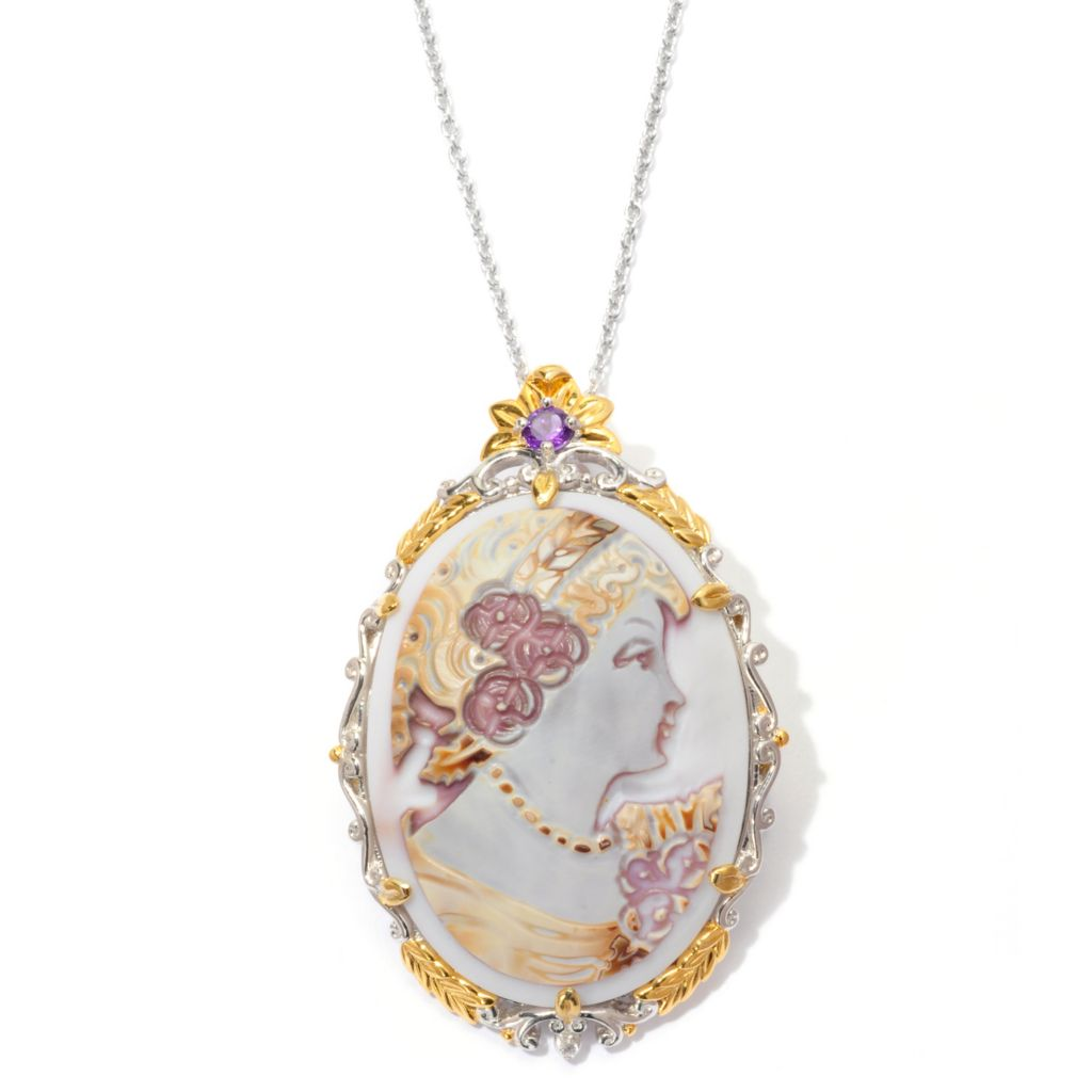 "129-450 - Gems en Vogue II 40mm Hand-Carved Tiger Shell Cameo Enhancer/Pin w/ 18"" Chain"