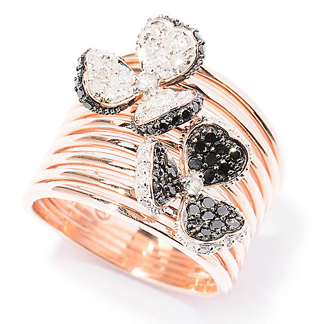129-455 - Beverly Hills Elegance 14K Rose Gold 0.75ctw Black & White Diamond Two-Flower Ring