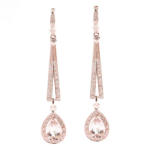 129-482 - NYC II® 2.25'' 3.66ctw Morganite & White Zircon Elongated Drop Earrings