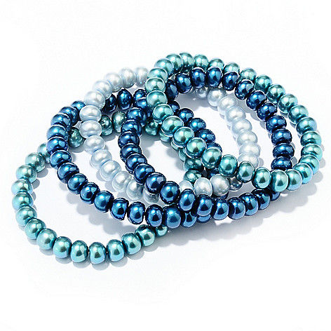 129-483 - Gem Treasures Set of Five 7'' 8-9mm Freshwater Cultured Pearl Power Bead Bracelets