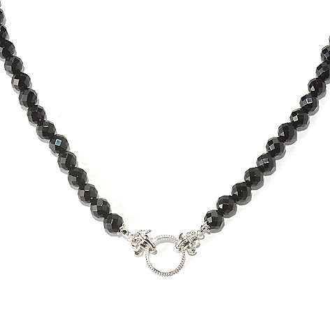 129-492 - Dallas Prince Sterling Silver 18'' Black Onyx Toggle Necklace