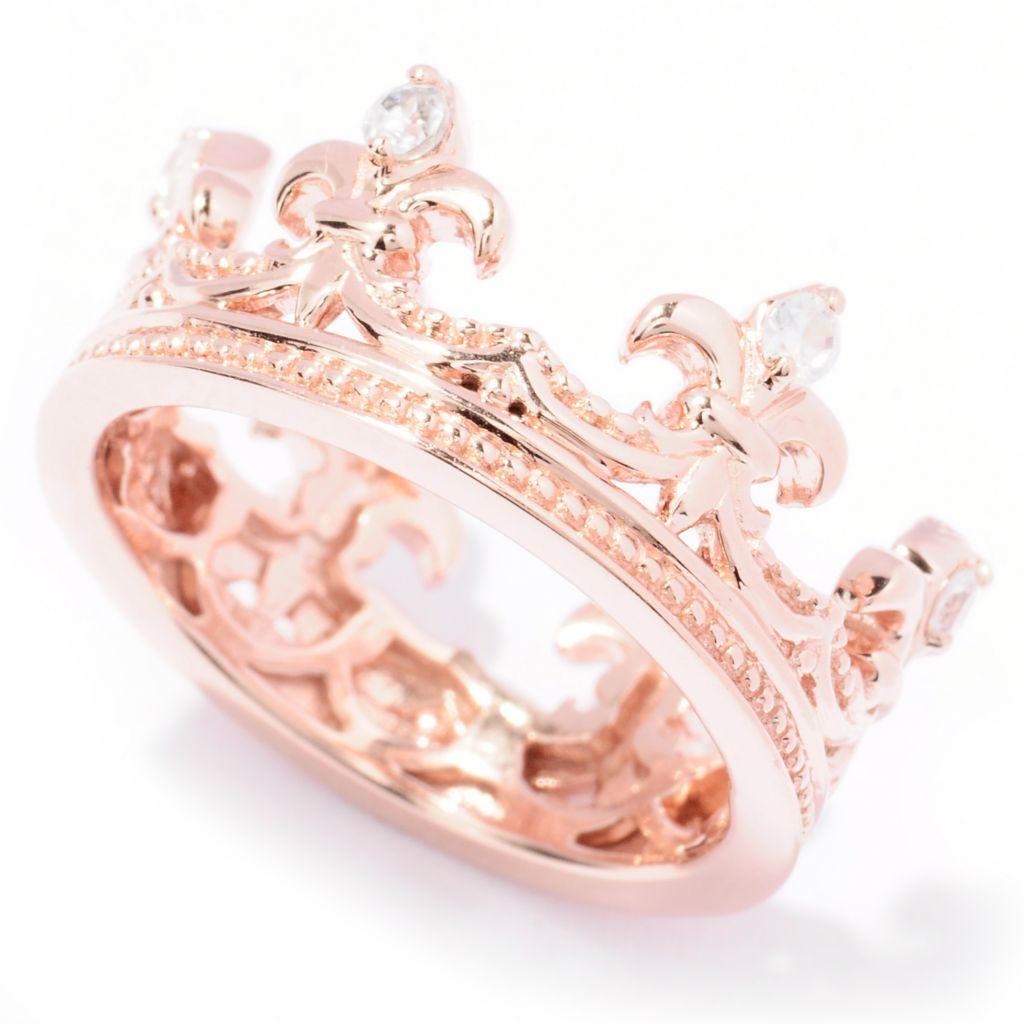 129-493 - Dallas Prince White Zircon Fleur-de-lis Crown Ring