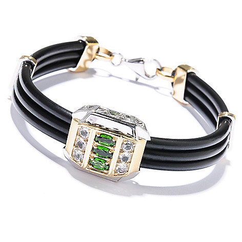 129-498 - Men's en Vogue II 1.65ctw Chrome Diopside & White Topaz Cord Bracelet