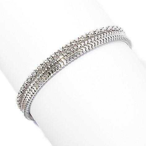 129-513 - Palatino™ Platinum Embraced™ Set of Three Multi Textured Chain Bracelets