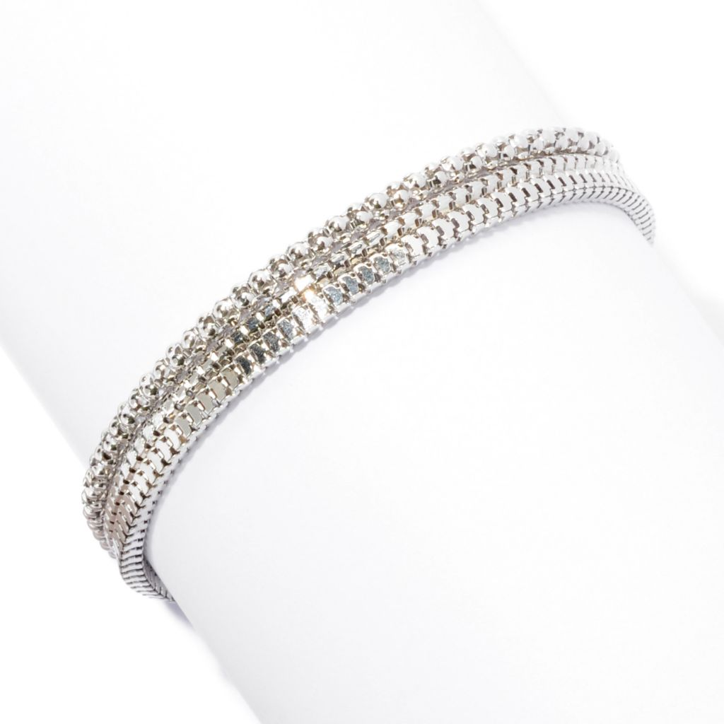 129-513 - Palatino™ Platinum Embraced™ Set of Three Multi Textured Chain Bracelets