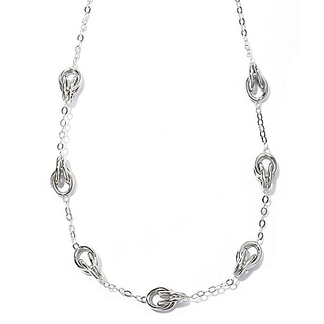 129-518 - Palatino™ Platinum Embraced™ 24'' High Polished Twisted Oval Station Necklace