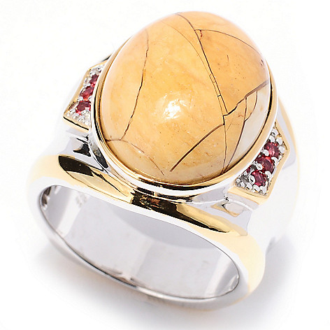 129-526 - Men's en Vogue II 20 x 15mm Brecciated Mookaite & Orange Sapphire Ring