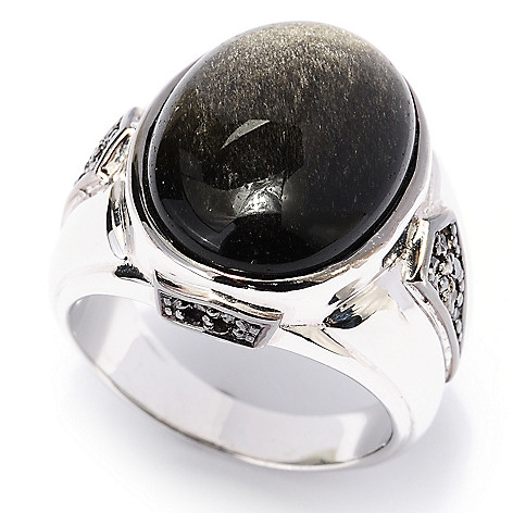 129-527 - Men's en Vogue II 20 x 15mm Black Obsidian & Black Diamond Ring