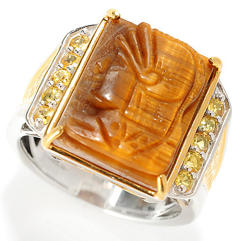 129-528 - Men's en Vogue II 18 x 13mm Carved Tiger Eye & Yellow Sapphire Knight's Head Ring