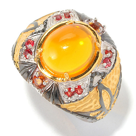 129-533 - Men's en Vogue II 12 x 10mm Fire Opal, Sapphire & Madeira Citrine Oval Ring
