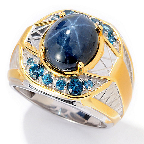 129-534 - Men's en Vogue II 12 x 10mm Blue Star Sapphire & London Blue Topaz Ring