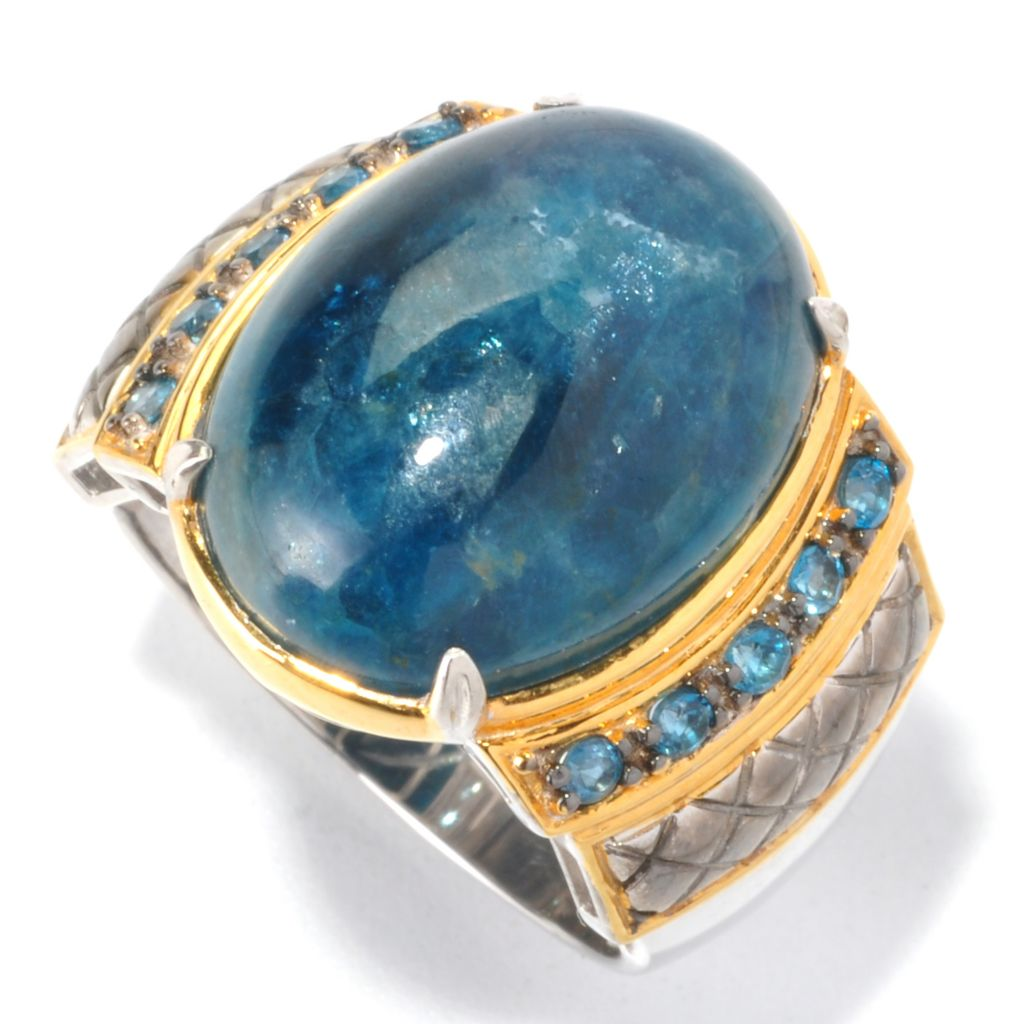 129-535 - Men's en Vogue 20 x 15mm Opaque Apatite & London Blue Topaz Ring