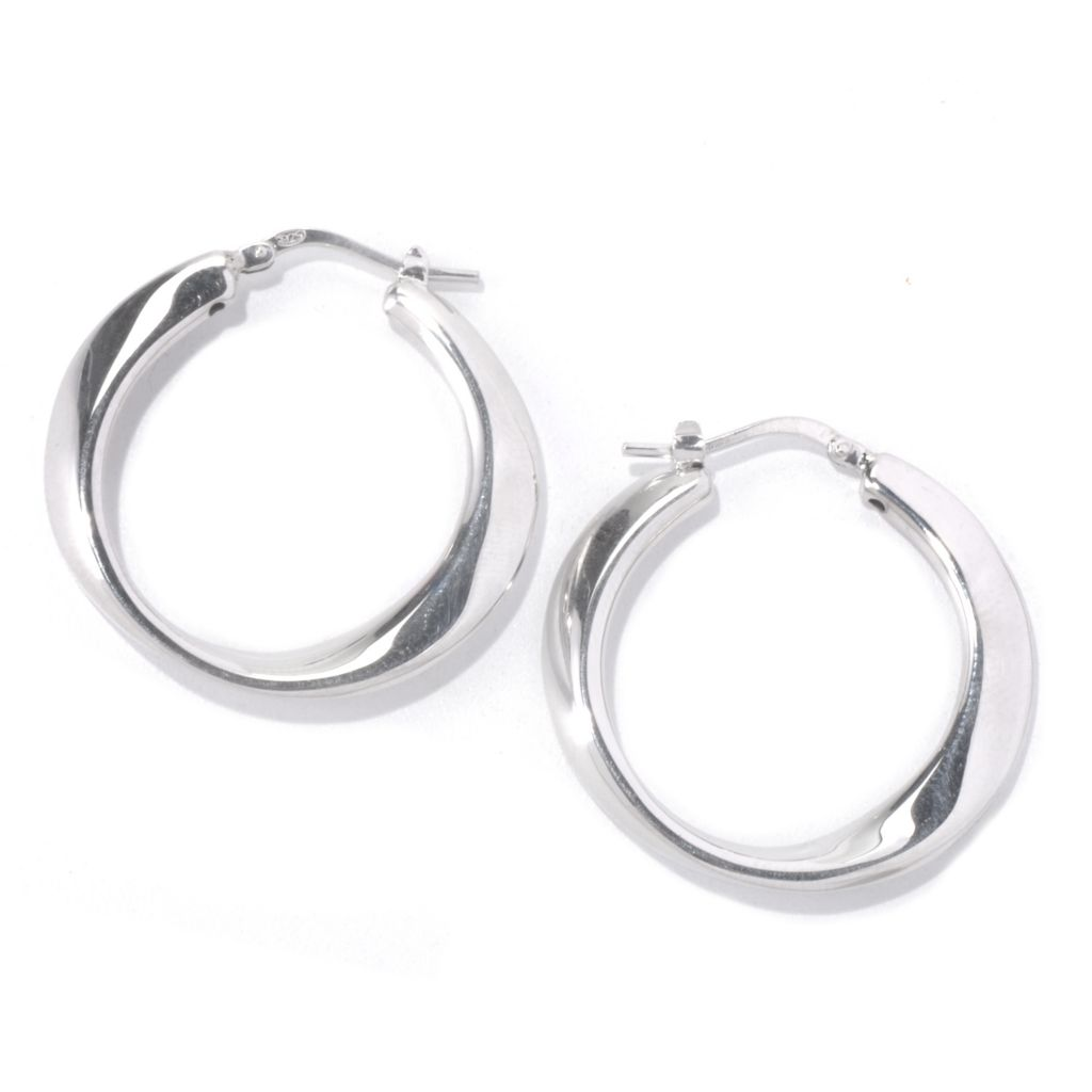 129-536 - Palatino™ Platinum Embraced™ High Polished Twisted Hoop Earrings