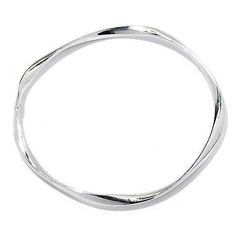 129-537 - Palatino™ Platinum Embraced™ 8'' High Polished Slide-on Wave Bangle Bracelet