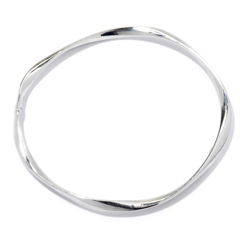 "129-537 - Palatino™ Platinum Embraced™ 8"" High Polished Slide-on Wave Bangle Bracelet"