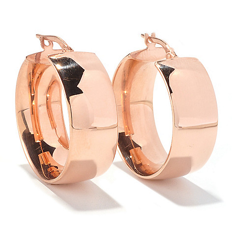 129-540 - Portofino 18K Gold Embraced™ High-Polished Wedding Band Hoop Earrings