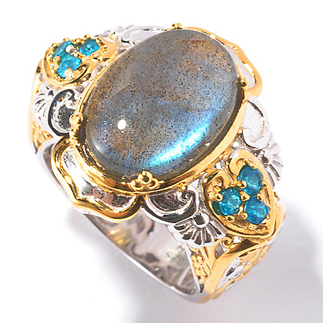 129-541 - Gems en Vogue II 14 x 10mm Blue Labradorite & Neon Apatite Ring
