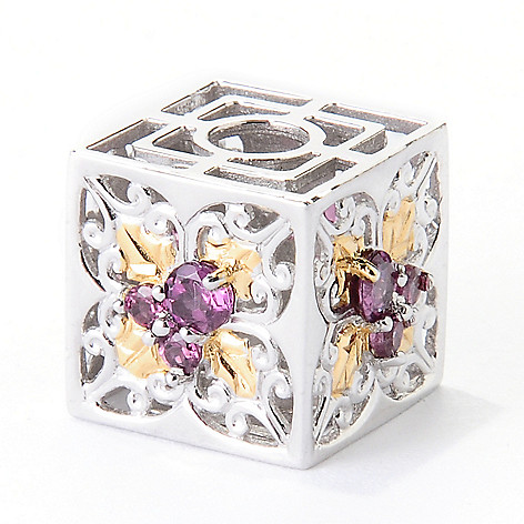 129-543 - Gems en Vogue II Rhodolite Garnet Poinsettia Cube Slide-on Charm