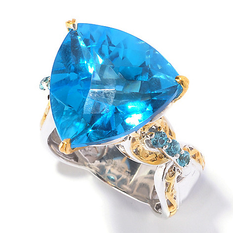 129-548 - Gems en Vogue II 16.12ctw Trillion Swiss Blue Topaz & Blue Zircon Ring