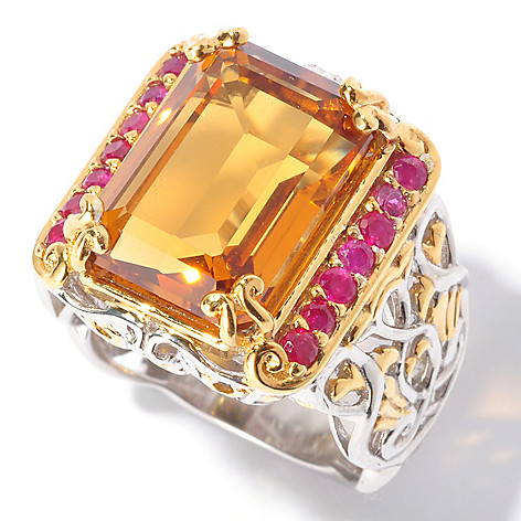 129-549 - Gems en Vogue II 7.00ctw Emerald Cut Madeira Citrine & Ruby Ring