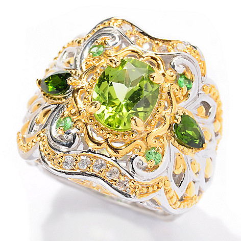 129-552 - Gems en Vogue 2.36ctw Oval Peridot & Multi Gemstone Ring