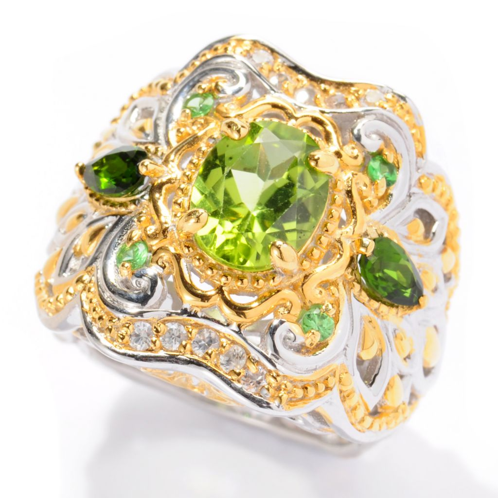 129-552 - Gems en Vogue II 2.36ctw Oval Peridot & Multi Gemstone Ring