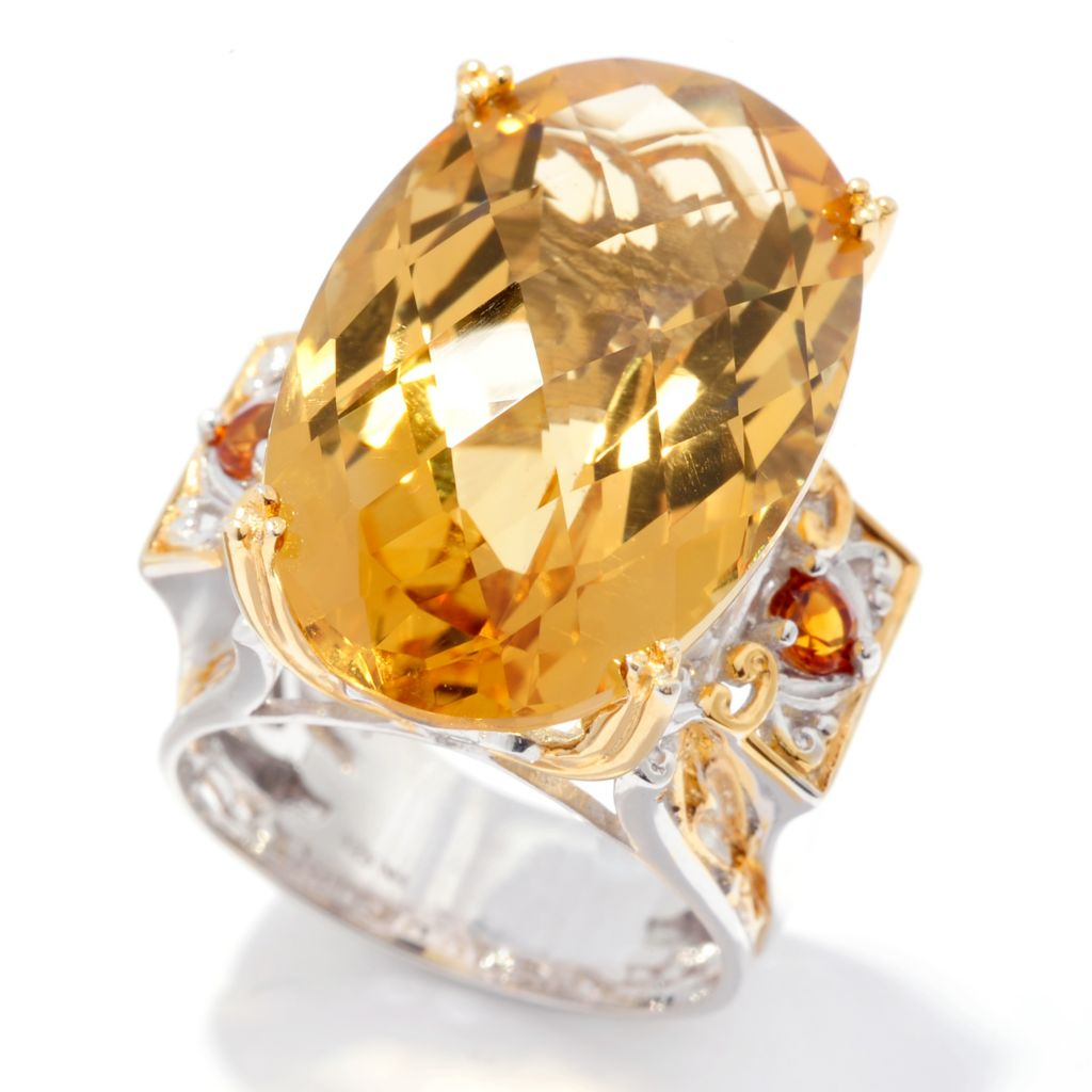 129-555 - Gems en Vogue 22.20ctw Zambian & Madeira Citrine Ring