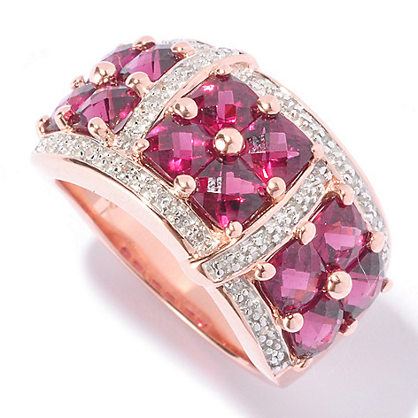 129-560 - NYC II™ 4.23ctw Cushion Cut Brazilian Garnet & Diamond Ring