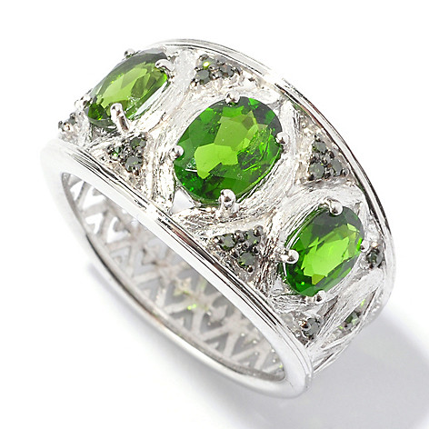 129-562 - NYC II 1.46ctw Chrome Diopside & Green Diamond Brushed Ring