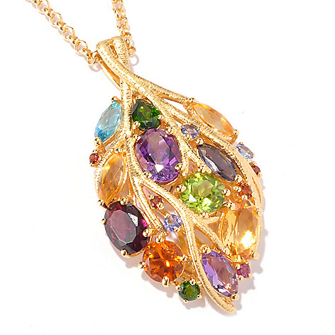 129-563 - NYC II 7.54ctw Multi Gemstone Leaf Pendant w/ 20'' Chain