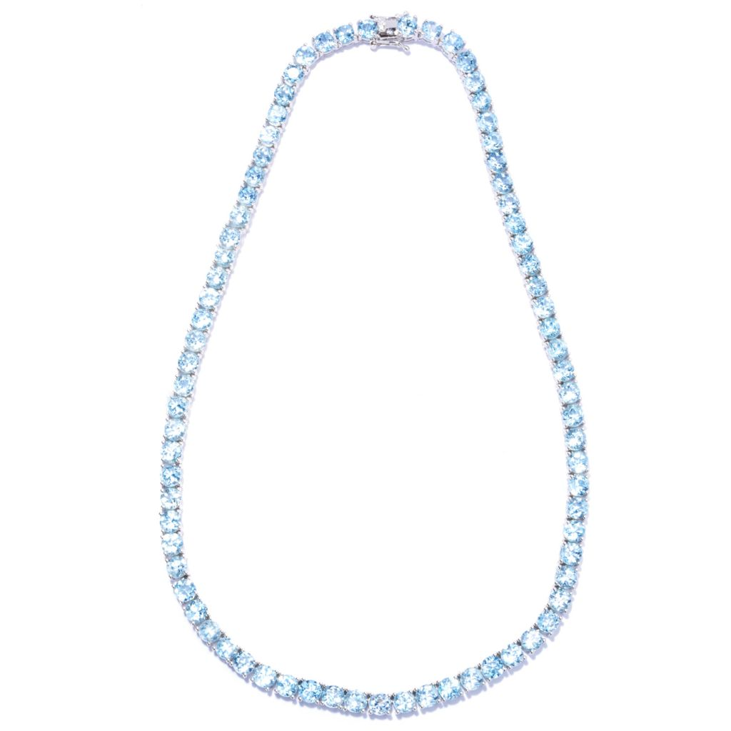 129-566 - Gem Treasures Sterling Silver White Topaz Tennis Necklace